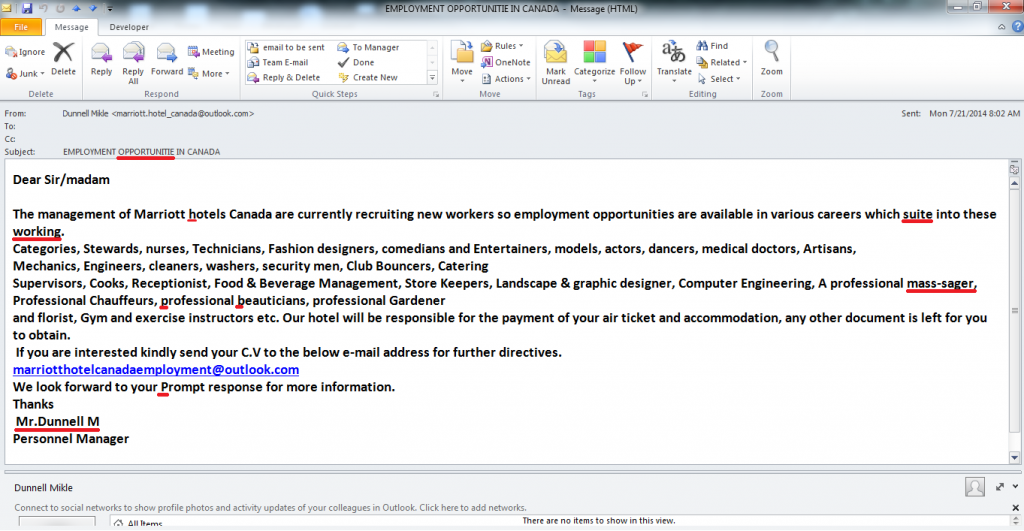 Job Offer letter for immigrating to Canada