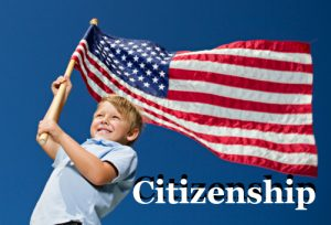 Patriotic boy with American Flag