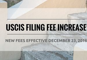 Increased US Immigration Fees from 23rd December, 2016