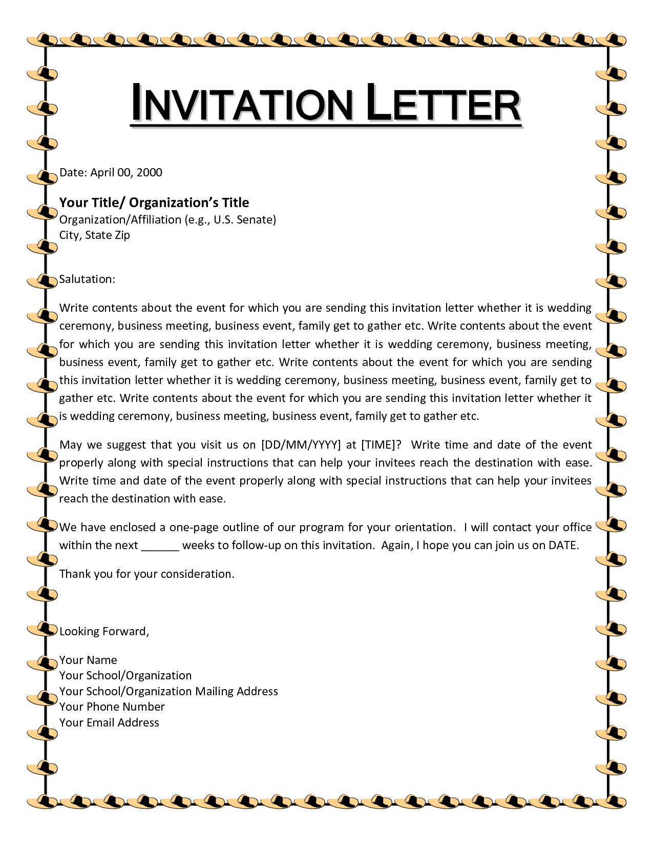 It Is Important To Know The Basics Of The Letter Of Invitation To