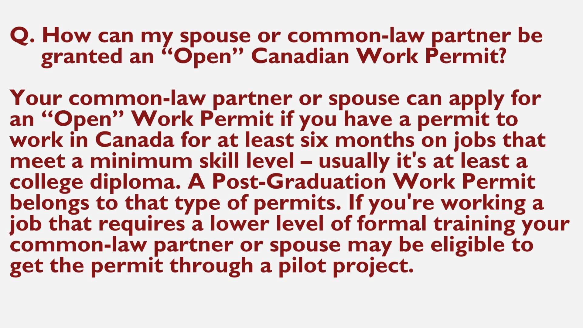 Canada extends open work permit for Spouses