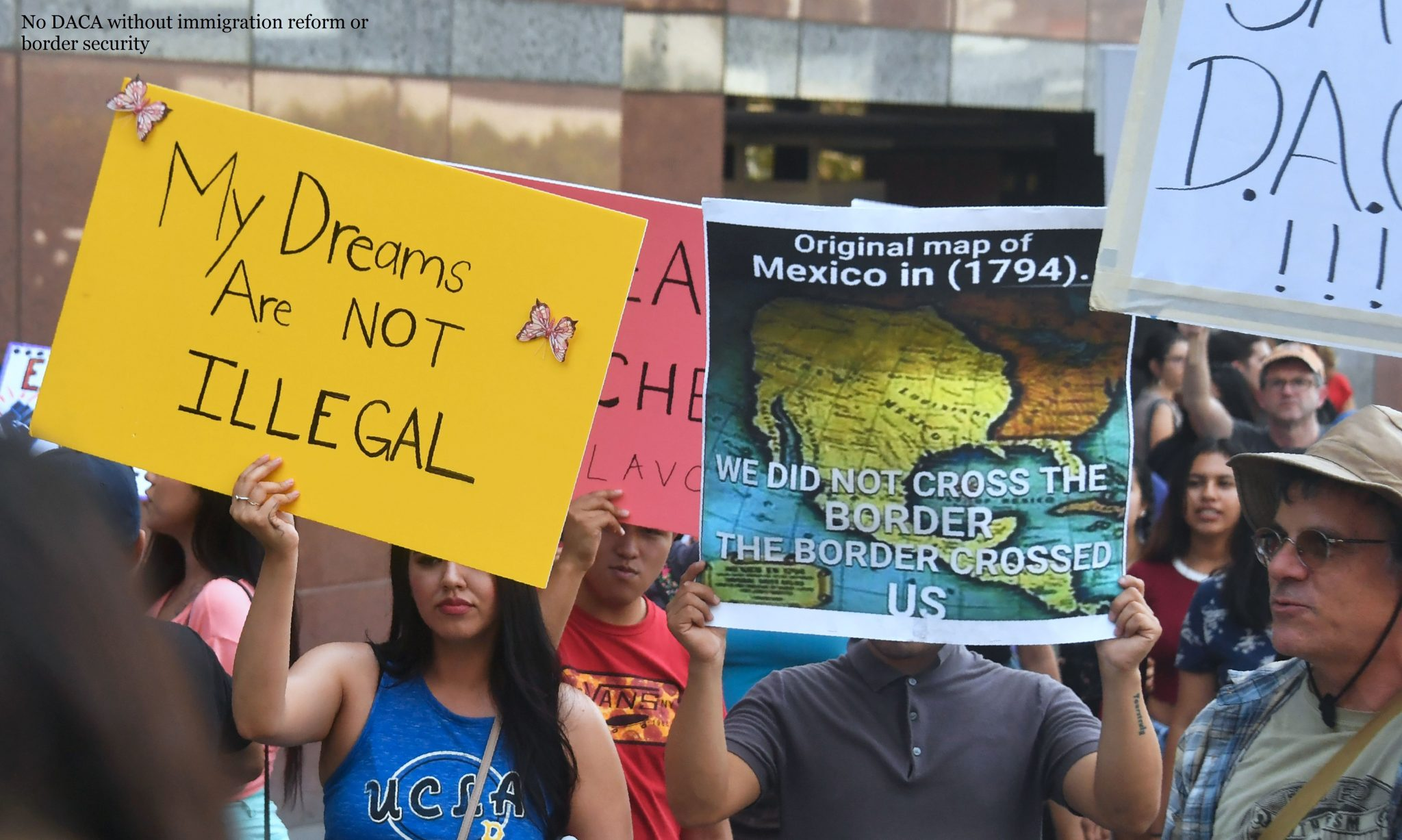 A map of Mexico as it was in 1794 is displayed as young immigrants and their supporters rally in support of Deferred Action for Childhood Arrivals (DACA) in Los Angeles, California on September 1, 2017. A decision is expected in coming days on whether US President Trump will end the program by his predecessor, former President Obama, on DACA which has protected some 800,000 undocumented immigrants, also known as Dreamers, since 2012. / AFP PHOTO / FREDERIC J. BROWN        (Photo credit should read FREDERIC J. BROWN/AFP/Getty Images)