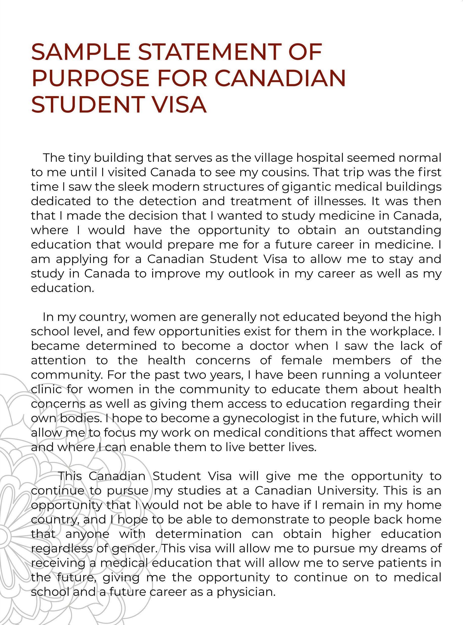 SOP sample study visa canada
