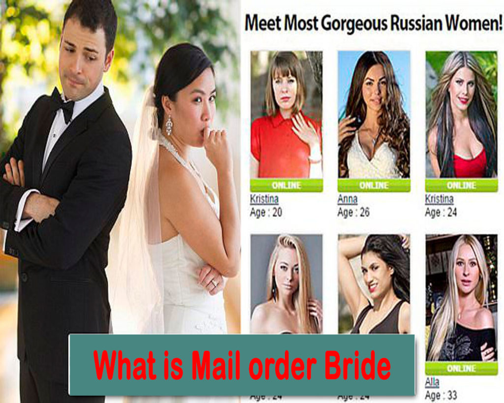 A mail-order bride is a woman who lists herself in catalogs and is selected by a man for marriage.
