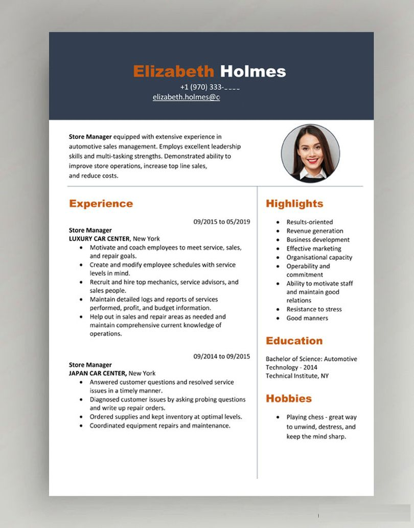 Resume format for Canada