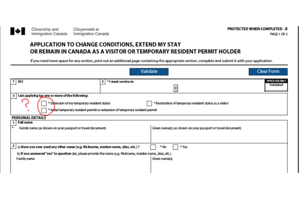 Application for Extension of Visa